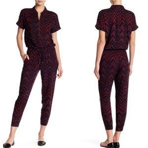 Splendid zip front chevron jumpsuit